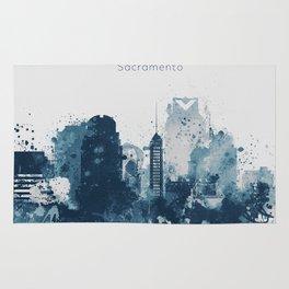 Blue Sacramento watercolor skyline Rug