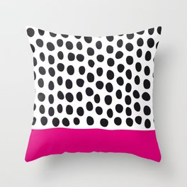 Modern Handpainted Polka Dots with Pink Throw Pillow