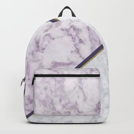 Lavender white faux gold abstract geometric marble Backpack
