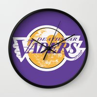 lakers Wall Clocks featuring L.A. Vaders by Ant Atomic