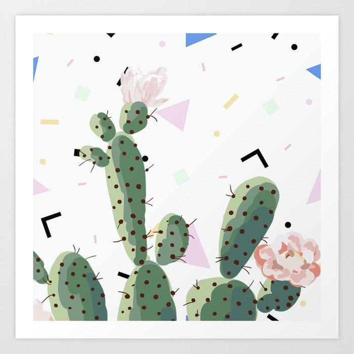 Memphis cactus Art Print