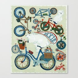 B is for Bicycle! (and polar bears) Canvas Print