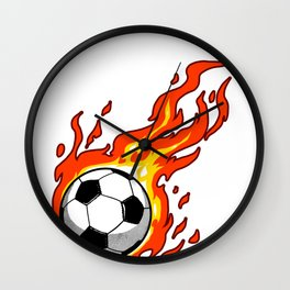 Soccer Ball Flames Sport Goal Game Football Gift Wall Clock