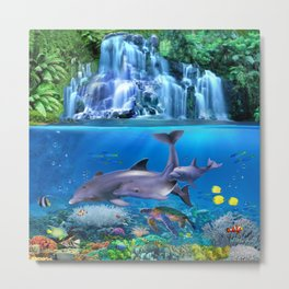 The Dolphin Family Metal Print