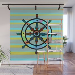 Ship helm and stripes Wall Mural
