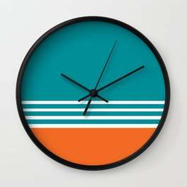 Miami Football Florida Sports Aqua Orange Wall Clock