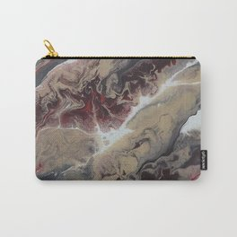 Neutral Black, Red and Brown Painting - Schism Abstract Carry-All Pouch