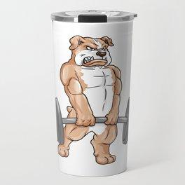 Bulldog at bodybuilding with barbell Travel Mug