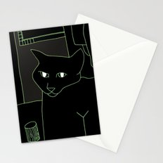 Neon Black Cat Shoulder Piece Stationery Cards