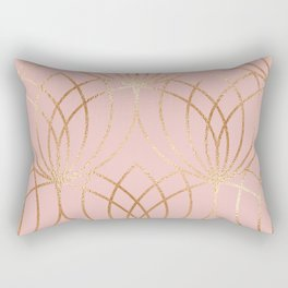 Rose gold millennial pink blooms Rectangular Pillow