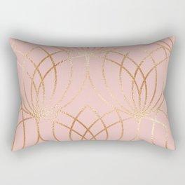 Rose gold millennial pink blooms Rectangular Pillow