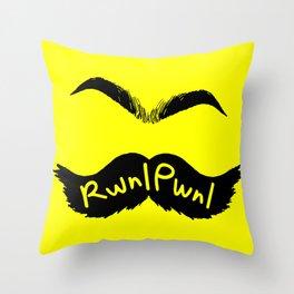 RwnlPwnl Mustache Throw Pillow