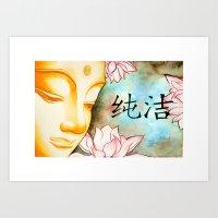 buddah Art Prints featuring Buddah (Purity) by JackiesGamingArt