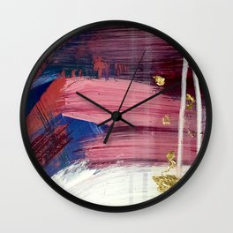 Los Angeles [3]: A vibrant, abstract piece in reds and blues and gold by Alyssa Hamilton Art Wall Clock