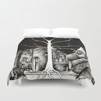 gondor Duvet Covers featuring The dark plague by Anca Chelaru