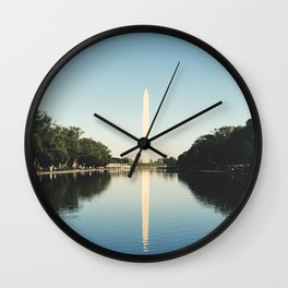 Washington monument in the reflecting pool Wall Clock