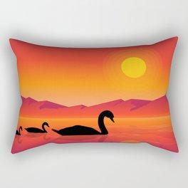 Silhouettes of Swans at Sunset Rectangular Pillow