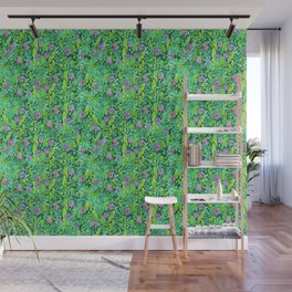 Pink Clover Flowers on Green Field, Floral Pattern Wall Mural