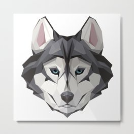 Triangular Geometric Siberian Husky Head Metal Print