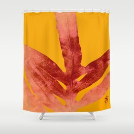 Green Fern on Red On Fire Shower Curtain
