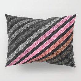 StRiPeS Slate Gray Living Coral Pixels Pillow Sham