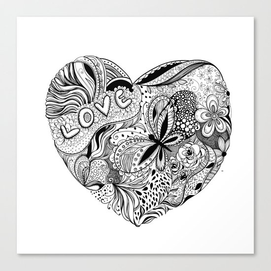 Floral heart for Valentines day Canvas Print