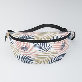 Tropical Palm Leaf Pattern – Pink, Gold, Indigo Fanny Pack