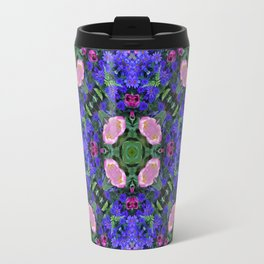 Floral Spectacular: Blue, Plum and Gold - repeating pattern, diamond, Olbrich Botanical Gardens, Mad Travel Mug