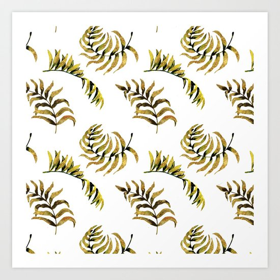 Exotic Gold Palm Leaves Pattern on #Society6 Art Print