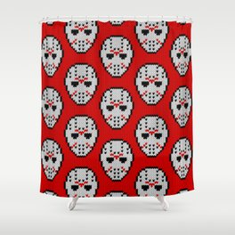 Knitted Jason hockey mask pattern Shower Curtain