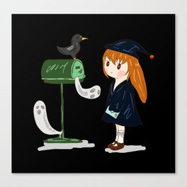 Cute Little Witch Halloween Canvas Print