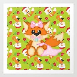 Foxy Christmas Baby Girl Art Print
