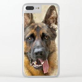 German Sheppard Portrait Clear iPhone Case