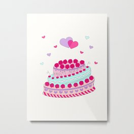 Valentine cake with two hearts Metal Print
