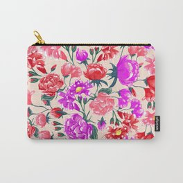 Floral - Pink & Red Carry-All Pouch