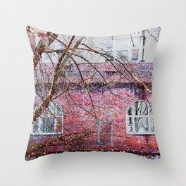 Brick Exterior with Lights Throw Pillow