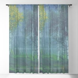 White Birch Forest, New England Landscape Sheer Curtain
