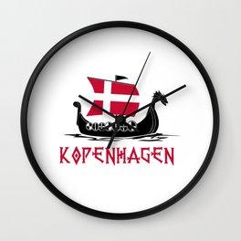 Kopenhagen  TShirt Denmark Flag Shirt Danish City Gift Idea Wall Clock