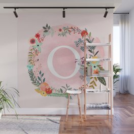 Flower Wreath with Personalized Monogram Initial Letter O on Pink Watercolor Paper Texture Artwork Wall Mural