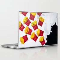 french fries Laptop & iPad Skins featuring Oh fries by Drica Lobo Art