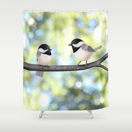 2 black-capped chickadees - bokeh Shower Curtain