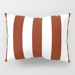 Kenyan copper red - solid color - white vertical lines pattern Pillow Sham