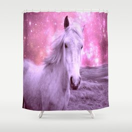 Pink Horse Celestial Dreams Shower Curtain