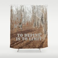 sayings Shower Curtains featuring Oscar Wilde #6 To define is to limit by bravo la fourmi