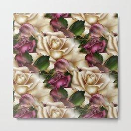 Burgundy & Cream Roses Metal Print