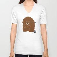 beaver V-neck T-shirts featuring Bushy Beaver by Lesbian Emojis