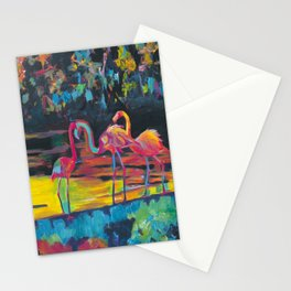 Flamingos in Impressionist Expressionist Phoenicopterus Roseus Style Stationery Cards