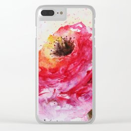 Big Pink Rose Blossom watercolor by CheyAnne Sexton Clear iPhone Case