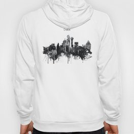 Dallas TexasBlack White Skyline Poster Hoody