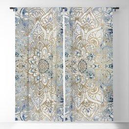 Yoga, Mandala, Blue and Gold, Wall Art Boho Blackout Curtain